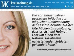 Kathrin Rössel über die Umbenennung der Lent-Kaserne in der Kreiszeitung