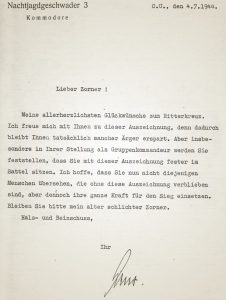 Helmut Lent Brief an Corner Ritterkreuz