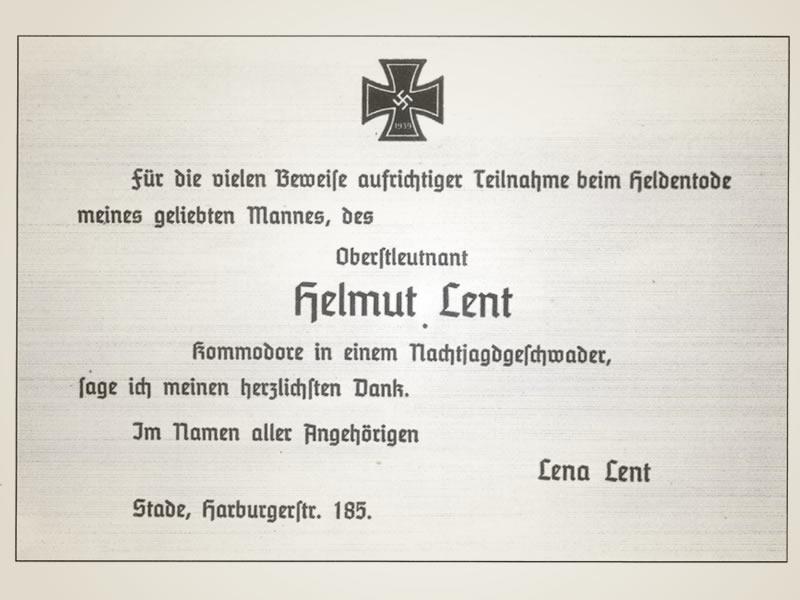 Zweite Anzeige zum Tod von Helmut Lent