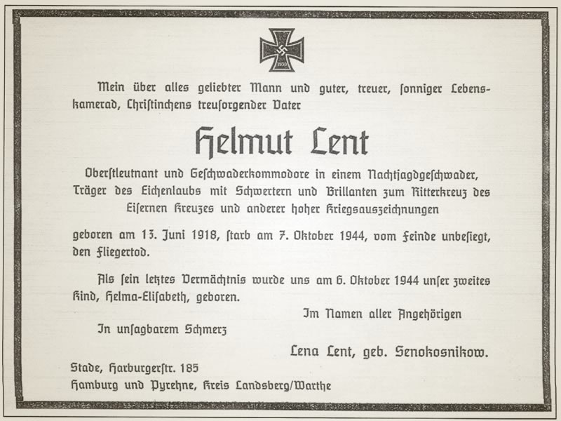 Todesanzeige Helmut Lent
