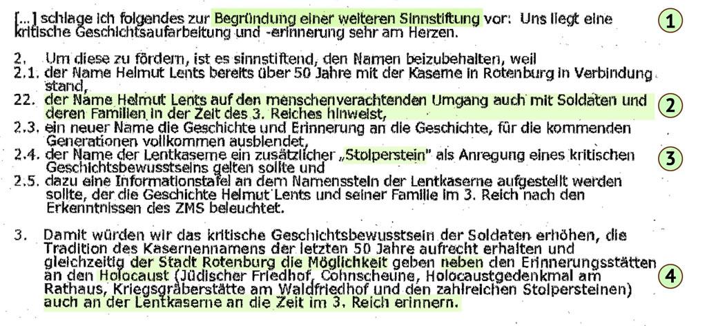 Memorandum Weber an Buchholz