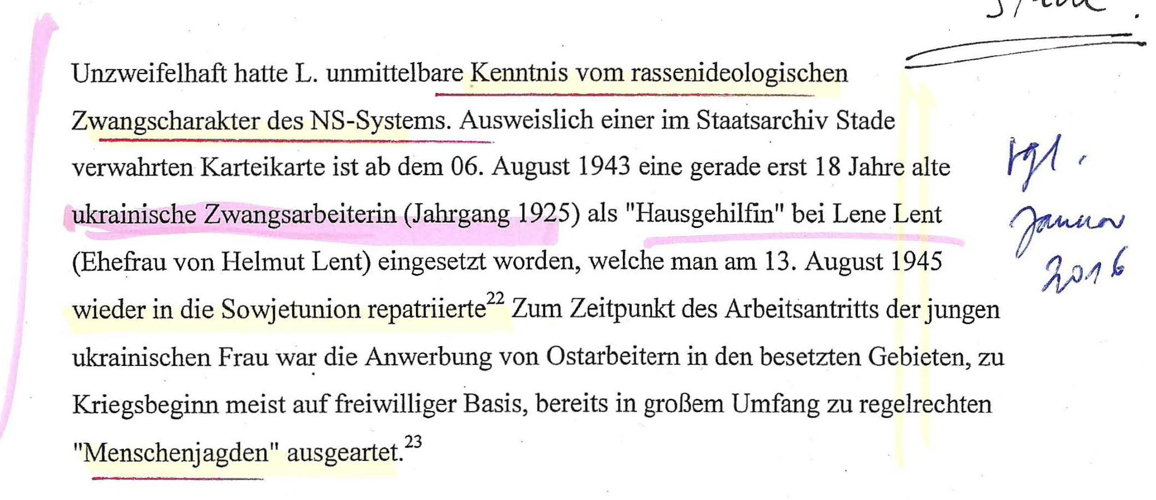 """Gutachten 2004 des MFGA zur Traditionswürde Helmut Lents - Hier wird die """"Kenntnis des rasseideoligischen Zwangscharakters"""" betont."""