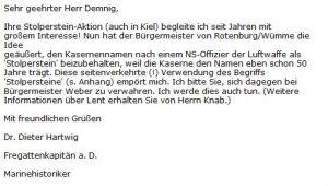 Militärhistoriker Dr. Hartwig Stolperstein Rotenburg