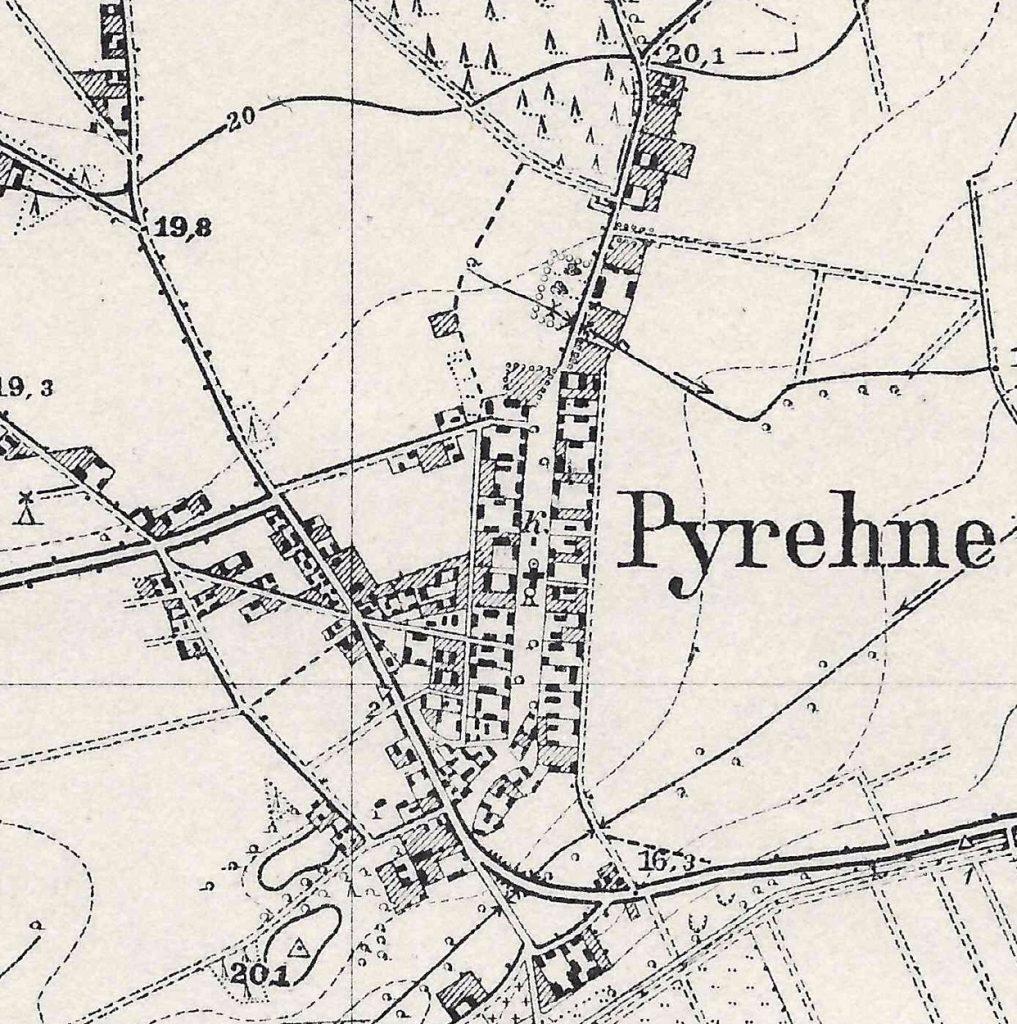 Pyrehne im Warthebruch - Landkarte von 1934